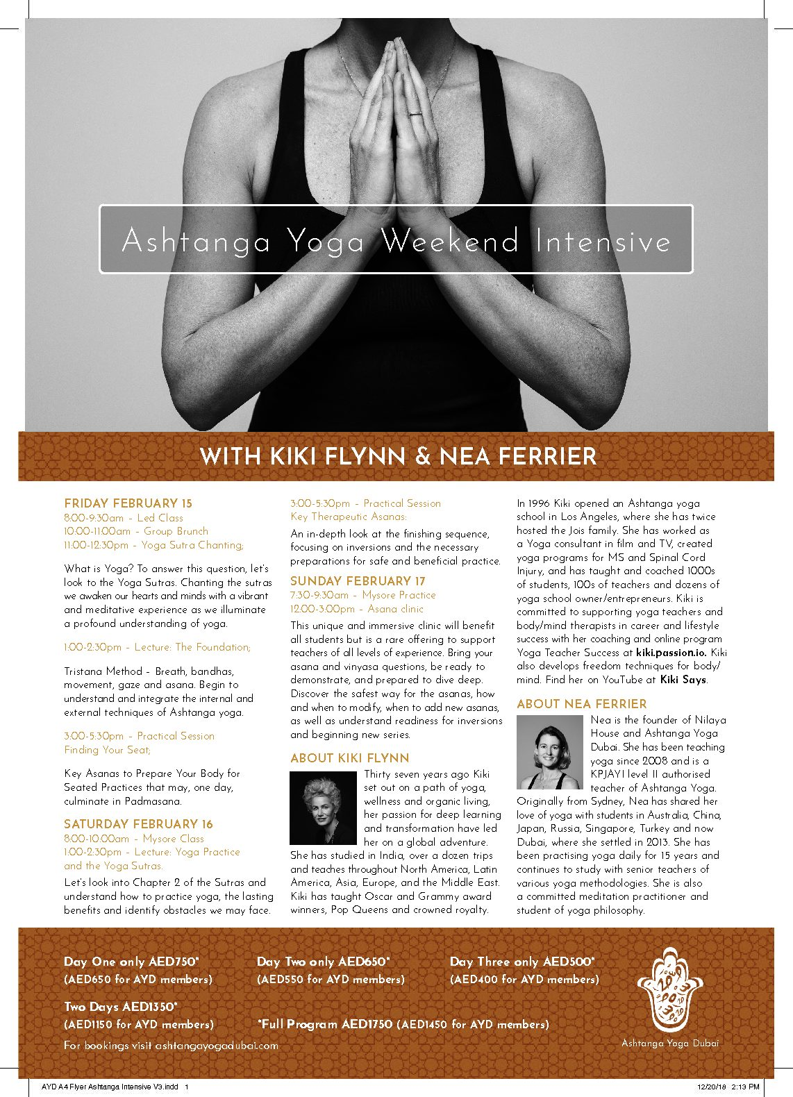 February 15-17, 2019 – Dubai – Ashtanga Yoga Immersion